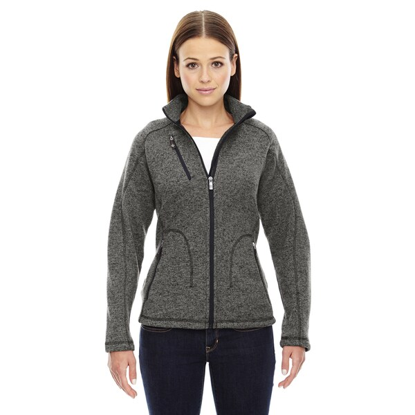 Peak Women's Heathered Charcoal Sweater Fleece Jacket