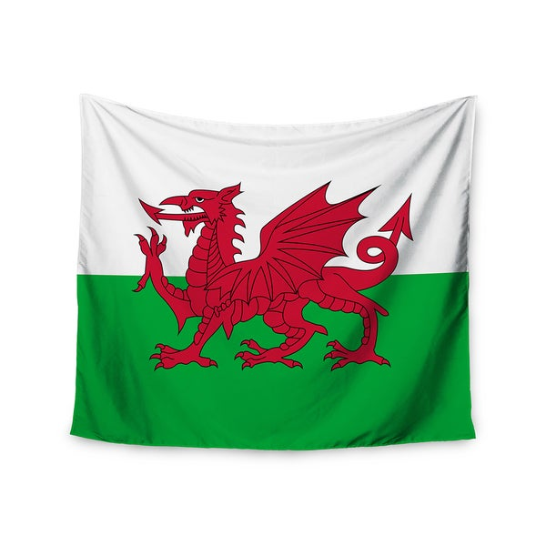 Kess InHouse Bruce Stanfield 'Flag Of Wales - Authentic' Fantasy Illustration 51x60-inch Wall Tapestry