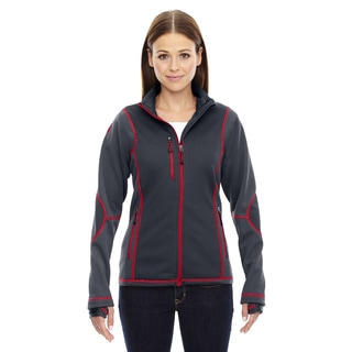 Pulse Women's 467 Carbon/Olympic Red Polyester Printed Textured Bonded Fleece Jacket