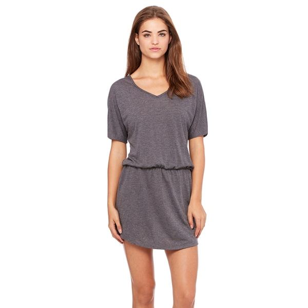 Flowy Women's Dark Grey Viscose/Polyester Heathered V-neck Dress