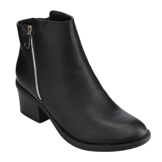 Reneeze Women's Black Faux/Synthetic Leather Ankle Booties