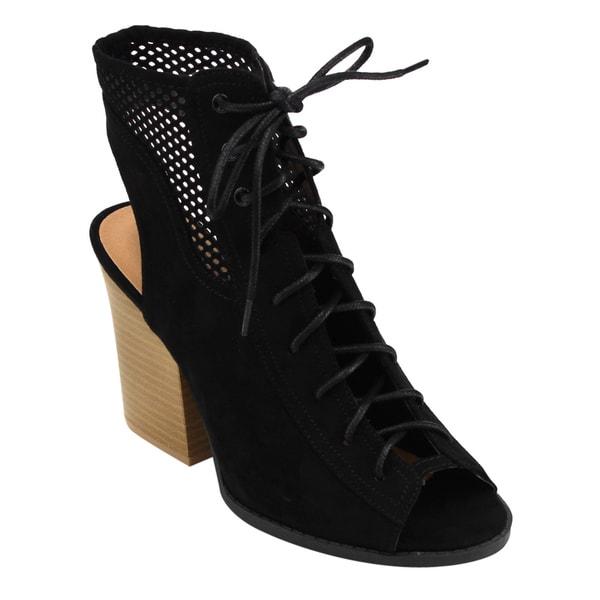 Qupid Women's Black/Grey Faux Suede Bootie Sandals