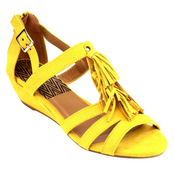 Qupid Women's Yellow Faux Suede Low-wedge Sandals