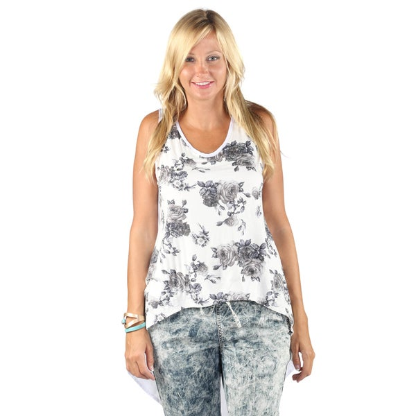 Hadari Womens Mid Round Neckline Sleeveless White Tank Top with flower Print Pattern