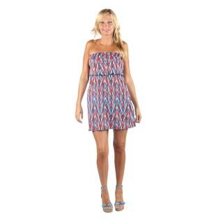 Hadari Womens Casual Straight Across Neckline Coral rectangular print Dress with Elastic Waistband