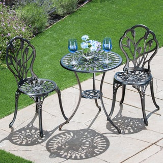 Corvus Cast Aluminum Bistro Set With 23.6-inch Table and Two Chairs