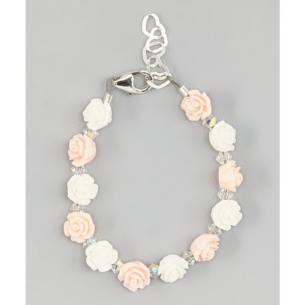 Crystal Dream Elegant Pink and White Mini Flower Beads with Clear Swarovski Crystals Baby Girl Bracelet
