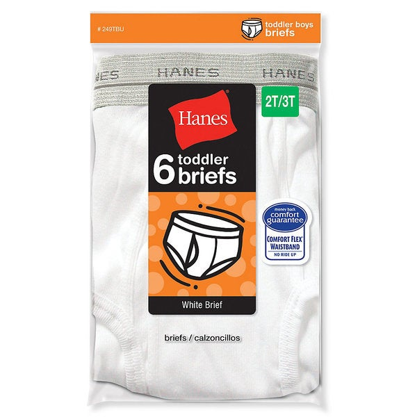 Hanes Toddler White Briefs (Pack of 6)