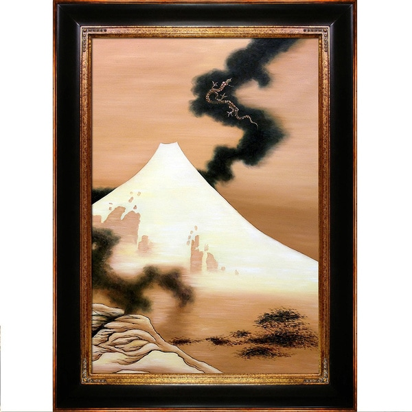 Katsushika Hokusai 'The Dragon of Smoke Escaping from Mt Fuji' Hand Painted Framed Canvas Art