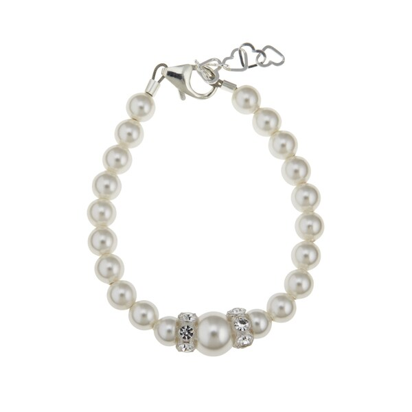 Swarovski White Simulated Pearls Rondelles Sterling Silver Baby, Infant, Toddler, Child Bracelet