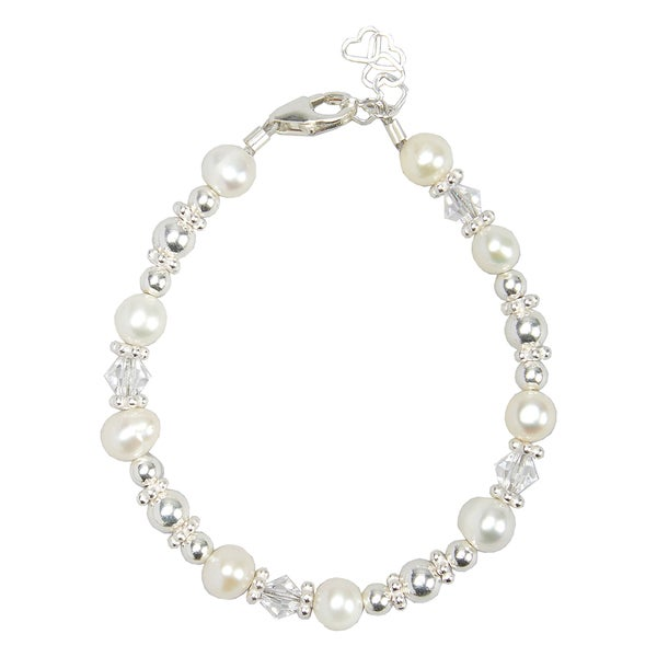 Luxury White Cultured Fresh Water Pearl & Swarovski Crystal Baby Bracelet