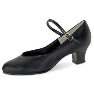 Danshuz Girls' Black Leather/Faux Leather Tap Queen Shoes