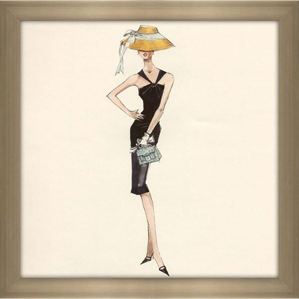 Robert Best 'Barbie in Black Dress with Straw Hat' Framed Fashion Wall Decor