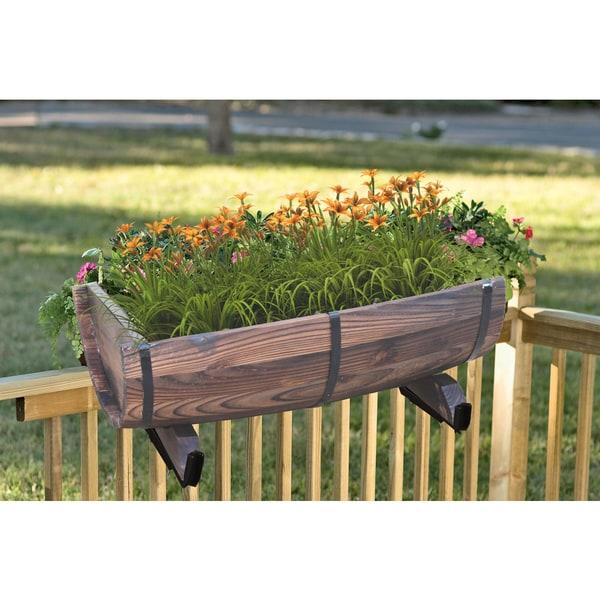 Half Barrel Brown Wood Adjustable Deck Railing Planter