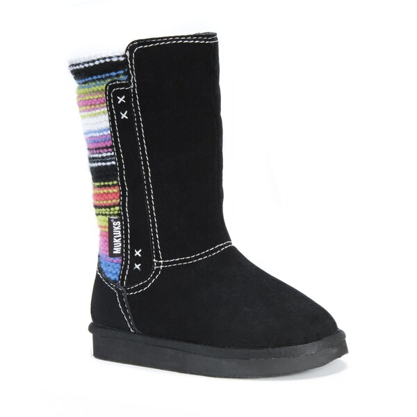 MUK LUKS Girl's Stacy Black Polyester, Faux Suede, Faux Fur Mid-calf Boots