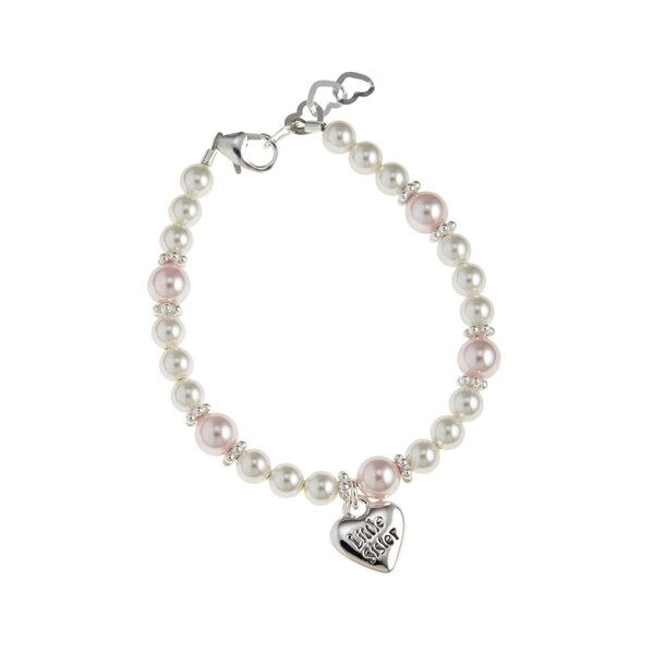 White and Pink Little Sister Baby Bracelet
