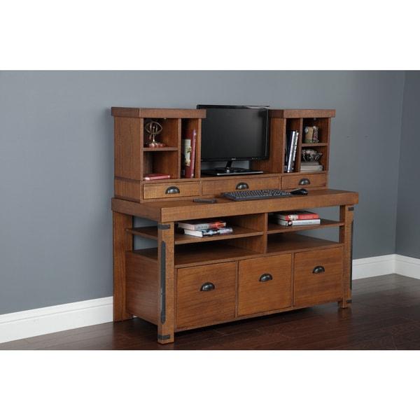 Rough Sawn Brown Wood 3-drawer Computer Hutch