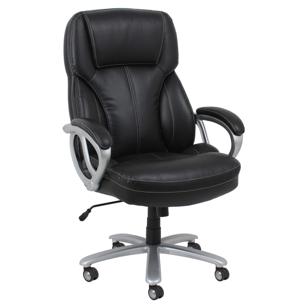 Essentials by OFM Big and Tall Black/ Silver Leather Executive Office Chair with Arms