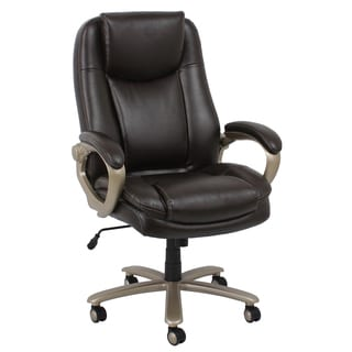 Essentials by OFM Big and Tall Brown/ Bronze Leather Executive Office Chair with Arms
