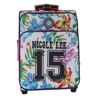 Nicole Lee Hailee 15 White Print Multicolor Nylon/Polyester 20-inch Crinkled Carry-on Upright Suitcase