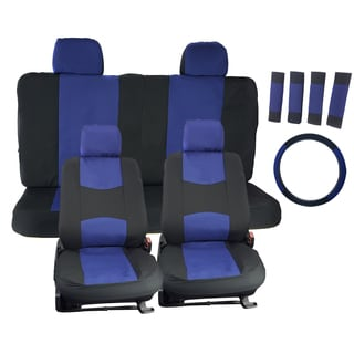 APZONA Universal Seat Covers Black and Blue Fit Most Cars, Trucks, SUVs, Vans (Set of 17 Pieces)