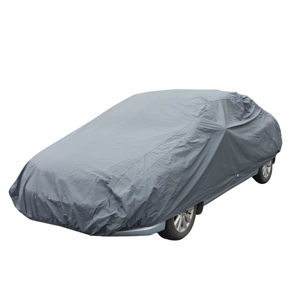 Apzona Grey PE/Cotton L-size UV/Dust-proof Universal Car Cover for up to 180-inch Sedans