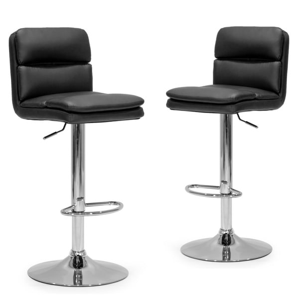 Affleck Black Faux Leather/Metal Adjustable Height Bar Stools (Set of 2)