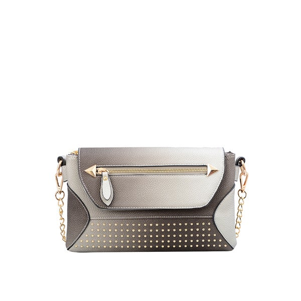 Raina Metallic Grey Faux Leather Studded Clutch