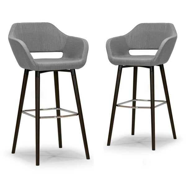 Counter stools set of 2 grey leather safavieh com - Adel Modern Grey Fabric Bar Stool With Beech Legs Set Of