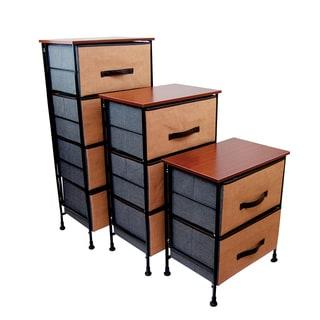 Wood Shelf With Foldable Baskets