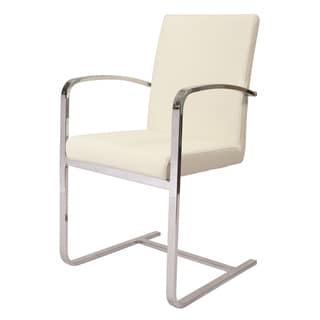 Monaco Off-white/Silver Polyurethane/Steel Side Armchair