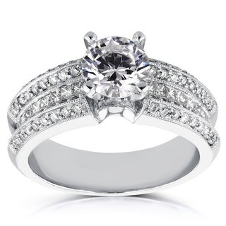 Annello 14k White Gold 2 2/5ct Round and Princess Diamond Pave Engagement Ring (H-I, I1-I2)