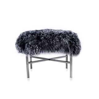 Pasargad Grey Leather Mongolian Fur Ottoman