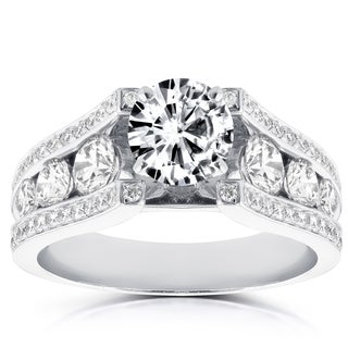 Annello 14k White Gold 3 1/10ct TDW Round Diamond Channel Split Shank Engagement Ring (H-I, I1-I2)