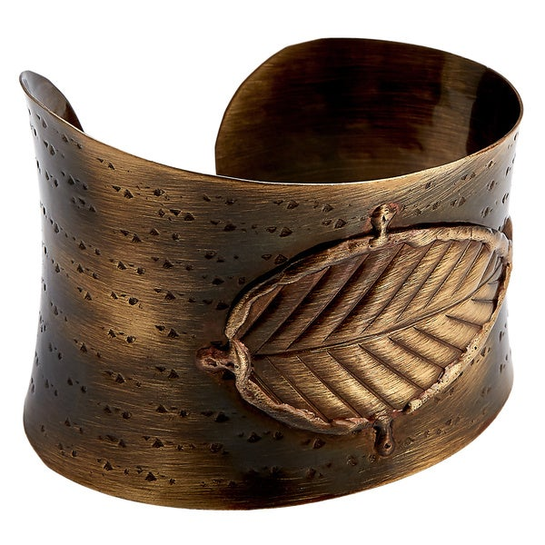 Handcrafted Mixed Metals Bronze Embossed Leaf Cuff Bracelets (India)