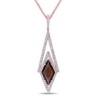 Versace 19.69 Abbigliamento Sportivo SRL White Sapphire and Smokey Quartz Prism Necklace in 18k Rose Gold Plated Sterling Silver