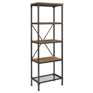 Bernards Stockton Black/Brown MDF and Metal 5-shelf Bookshelf