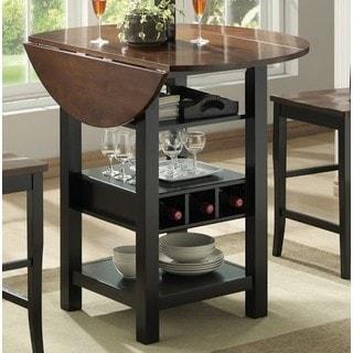 Black/Mahogany MDF/Veneer 40-inch Ridgewood Drop Leaf Wine Rack Pub Table