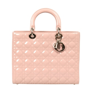 Lady Dior Patent Leather Bag in Pink with Silver Hardware size Large
