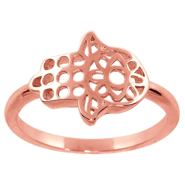 Eternally Haute 14k Rose Gold-plated Solid Sterling Silver Hamsa Ring
