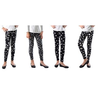 Pack of 4: Dinamit Girls' Multicolor Nylon and Spandex Stars Printed Leggings