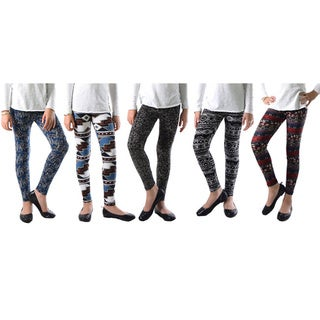 Pack of 5: Multicolor Printed Leggings