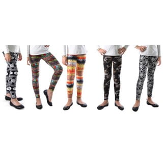 Pack of 5: Dinamit Girls' Trendy Mix Multicolor Nylon/Spandex Printed Leggings