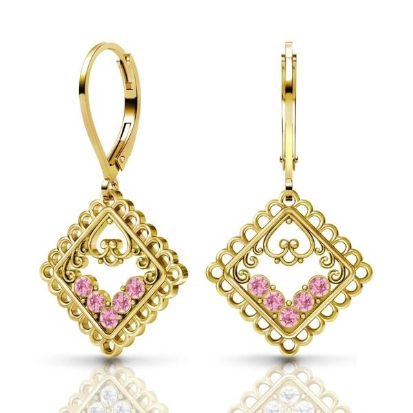 Lucia Costin Sterling Silver Light-Rose Swarovski Crystal Earrings