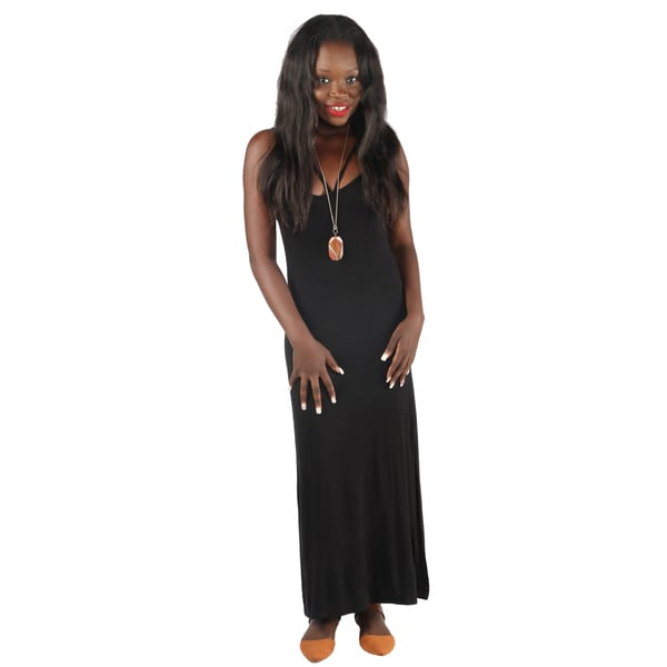 Hadari Womens Sexy Black back crossed grecian long dress with open side slits