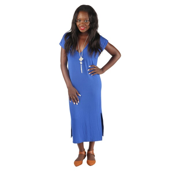 Hadari Womens Slimfit Royal Blue V-Neck 1/4 Sleeve Long Shift Dress with Slit at each side