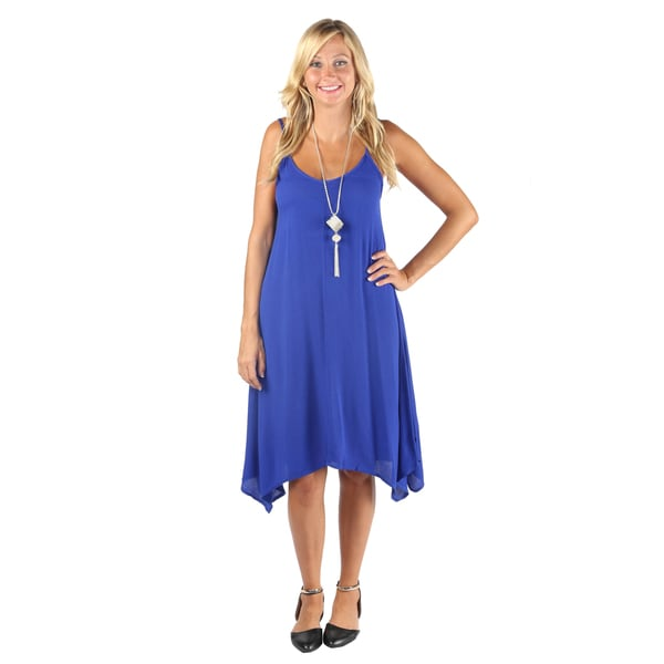 Hadari Womens Royal Blue Sleeveless V-neck boho dress