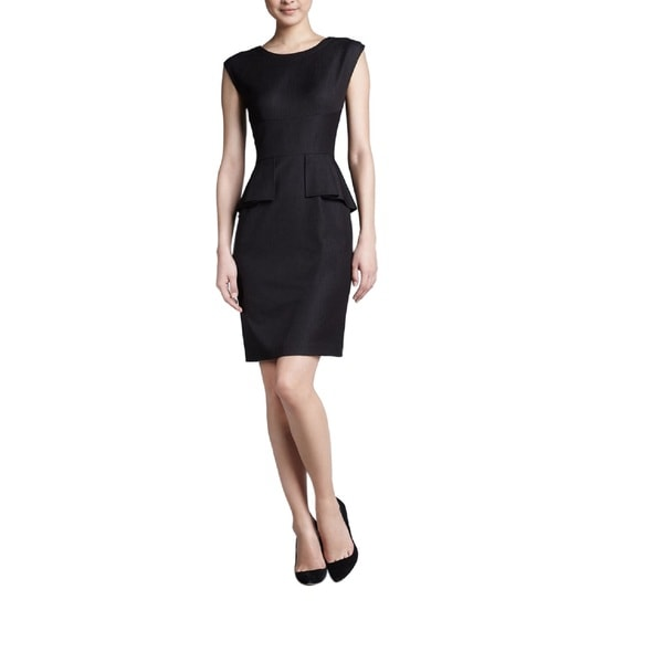 T Tahari Myra Black Polyester Size 6 Peplum Dress