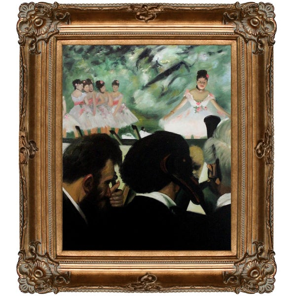 Edgar Degas 'Musicians in the Orchestra' Hand Painted Framed Canvas Art