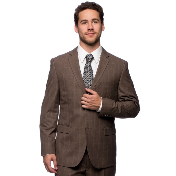 Caravelli Men's Slim Fit Brown Plaid Vested Suit (40R/ 34W) in Brown (As Is Item)